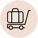 bag, hotel trolley, luggage cart, luggage trolley, suitcase icon