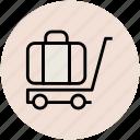 bag, hotel trolley, luggage cart, luggage trolley, suitcase icon