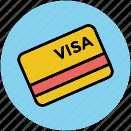 bank card, credit card, debit card, money card, plastic money, smart card, visa card icon