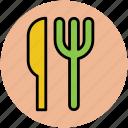 cutlery, dining, flatware, fork, knife, silverware, tableware icon