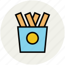chips, fastfood, finger chips, food, french fries, fries, frites icon