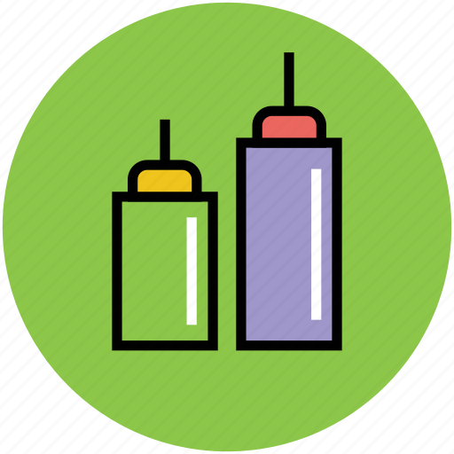 ketchup bottles, mayonnaise bottle, mustard bottle, sauce bottle, squeeze bottle icon