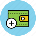 add sign, add to wallet, pocketbook, purse, wallet icon