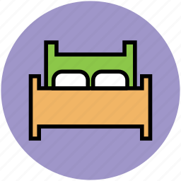 bed, bedroom, double bed, hotel room, sleep icon