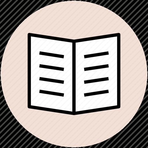 brochure, food menu, menu card, pamphlet, restaurant menu icon