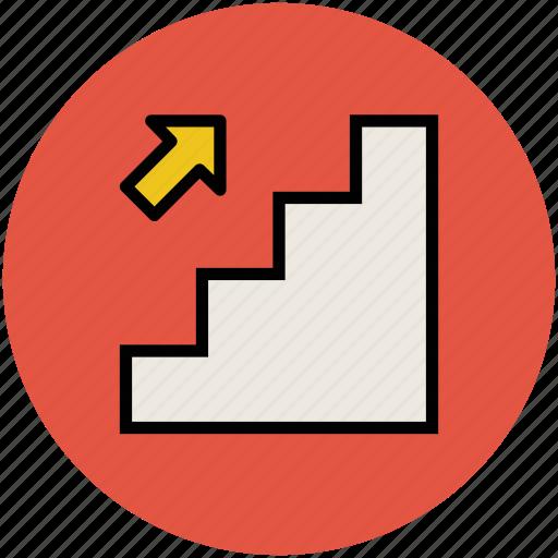 escalator, staircase, stairs, up, upstairs, upward icon