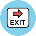 direction arrow, emergency sign, exit, exit sign, information board icon