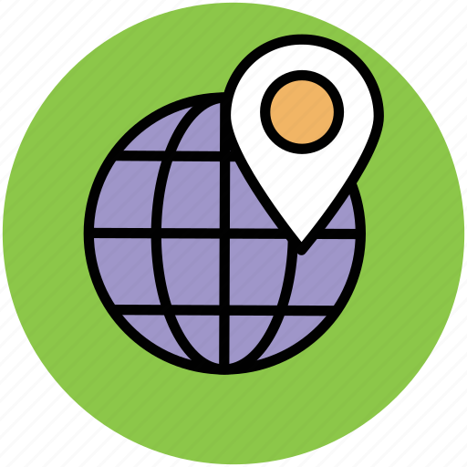 global location, globe, gps, international location, map marker, map pin, navigational concept icon