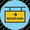 hotel reception, info signboard, information, reception, reception counter icon