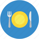 cutlery, dining, eating, fork, knife, plate, restaurant icon