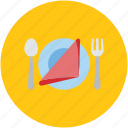 cutlery, dining, eating, fork, hotel, knife, napkin, plate, restaurant icon