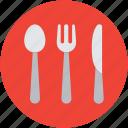 cutlery, dining, flatware, fork, knife, spoon, utensil