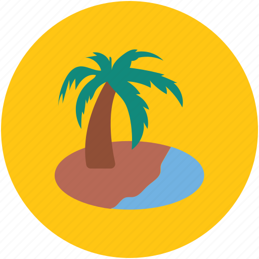 beach, island, palm tree, sea, sea sight, tree icon