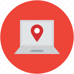 gps, laptop, location pointer, map pin, navigation, online map icon
