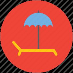 beach, deck chair, parasol, summer, sun bathing, sunbath, tanning icon