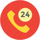 call service, customer service, customer support, helpline, twenty four, twenty four hours icon