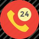 call service, customer service, customer support, helpline, twenty four, twenty four hours icon