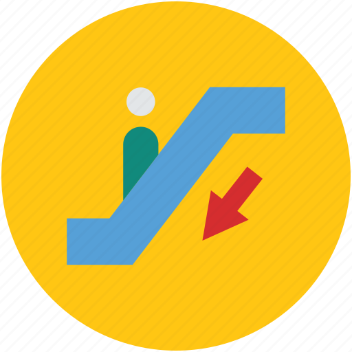 downward, electric stairs, escalator, moving downward, moving stairway icon