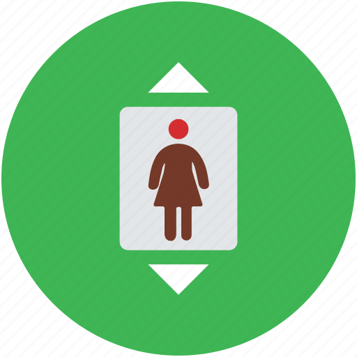 electric lift, elevator, lift, vertical transport, woman in elevator icon