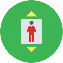 electric lift, elevator, lift, man in elevator, vertical transport icon