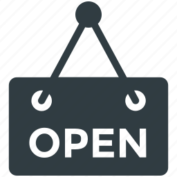 hanging sign, information sign, open signboard, open tag, shop sign icon