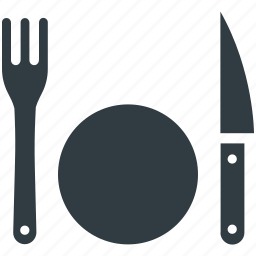 dining, eating, fork, knife, plate, restaurant, tableware icon