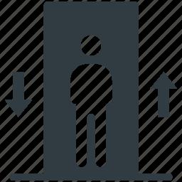 electric elevator, elevator, elevator lift, men in elevator, vertical transport icon