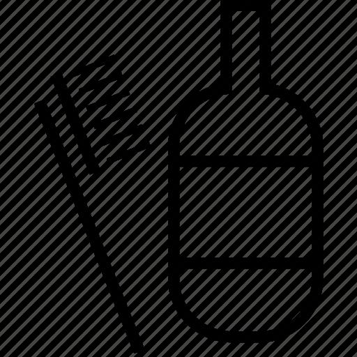 bottle, bottle and brush, brush, cleaning icon