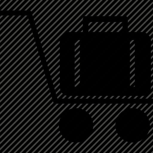 airport trolley, cart, hotel cart, hotel trolley, luggage, trolley icon