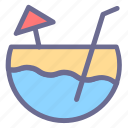 beach, cocktail, coconut, juice, lemon, refresh, summer icon