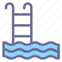 diving, pool, stairs, swim, swimming, under water, water icon