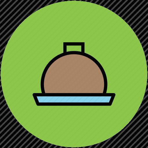chef platter, covered food, food platter, food serving, platter, restaurant, serving platter icon