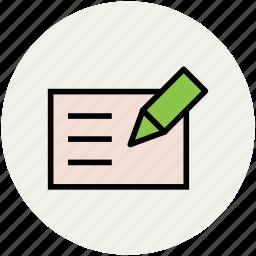 checkin, checkout, cheque, pen, pencil, receipt, voucher, writing icon