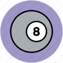 billiard ball, number eight, pool ball, snooker ball, sports ball icon
