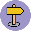 direction post, directional arrow, guidepost, road arrow, signboard, signpost icon