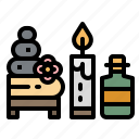 aroma, candle, spa, stone, towel icon