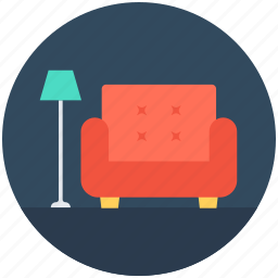 couch, floor lamp, furniture, settee, sofa icon