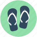 beach sandals, flat sandals, flip flops, footwear, home slippers icon