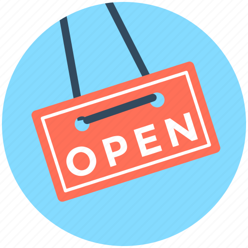 hanging sign, information sign, open, open signboard, shop sign icon