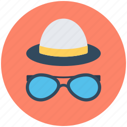 hipster mask, shades, specs, summer hat, sunglasses icon
