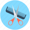 hair salon, comb, hair cutting, hair dressing, scissor icon