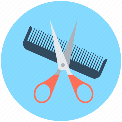 comb, hair cutting, hair dressing, hair salon, scissor icon