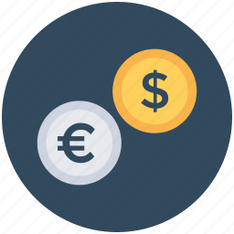 currency, dollar, euro, finance, money icon
