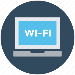 laptop, wifi connected, wifi connection, wifi signals, wireless internet icon