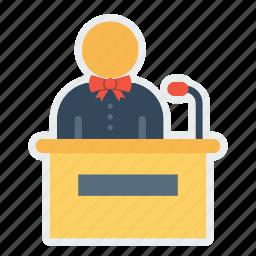 announcement, customer, hotel, receiptionist, restaurant, service, speaker icon