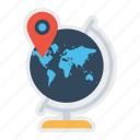 destination, earth, location, map, marker, pin, world icon