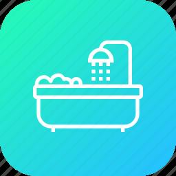 bath, bathing, bathroom, hotel, room, shower, tub icon
