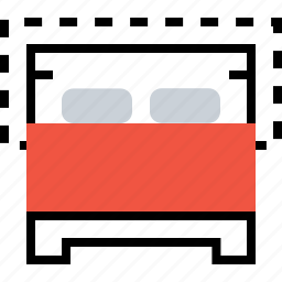 bed, couple, double, furniture, hotel, restaurant icon