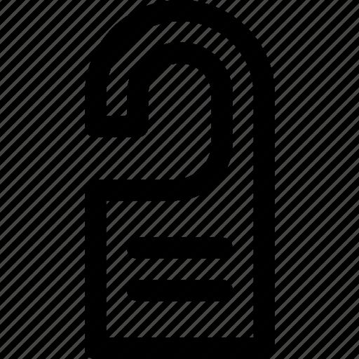 do not disturb, door, hanger, hotel, tag, text icon