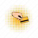 bank, card, comics, credit, hand, holding, savings icon